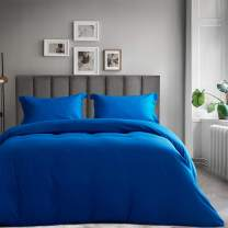 SERAINA Ultra Soft Duvet Cover Set,Microfiber 3 Piece Set with Button Closure,Concise Style Design High Thread Count Bedding Collection,1 Comforter Cover and 2 Pillow Shams,Royal Blue Queen Size 90x90