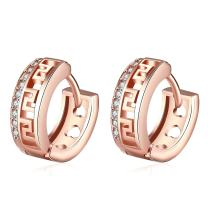 AMBESTEE Men Women Hoops Rose Gold Plated Rhinestone Inlay Zirconia Hoop Earrings for Party Meeting Wedding Daily Wear Christmas Gift