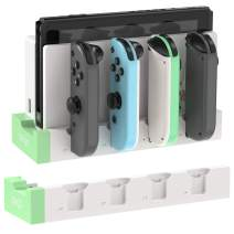 Charging Dock for Nintendo Switch Joy-Cons Controllers, [Add to Switch Dock] Portable Desktop Charging Station Stand with Extended USB Port - White/Green