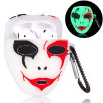 Oqplog for AirPods 2&1 Case, Protective Soft Silicone Cute Fun Fashion Cover for Girls Teens Kids Boys Air Pods, Stylish Cool Halloween Design Skin Accessories Cases for Airpod 1/2 - Luminous Mask