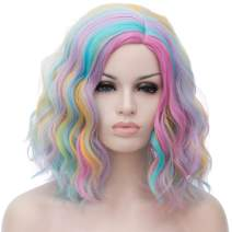 Alacos Fashion 35cm Short Curly Full Head Wig Heat Resistant Daily Dress Carnival Party Masquerade Anime Cosplay Wig +Wig Cap (Pastel Pinky Yellow Pink Blue Green)