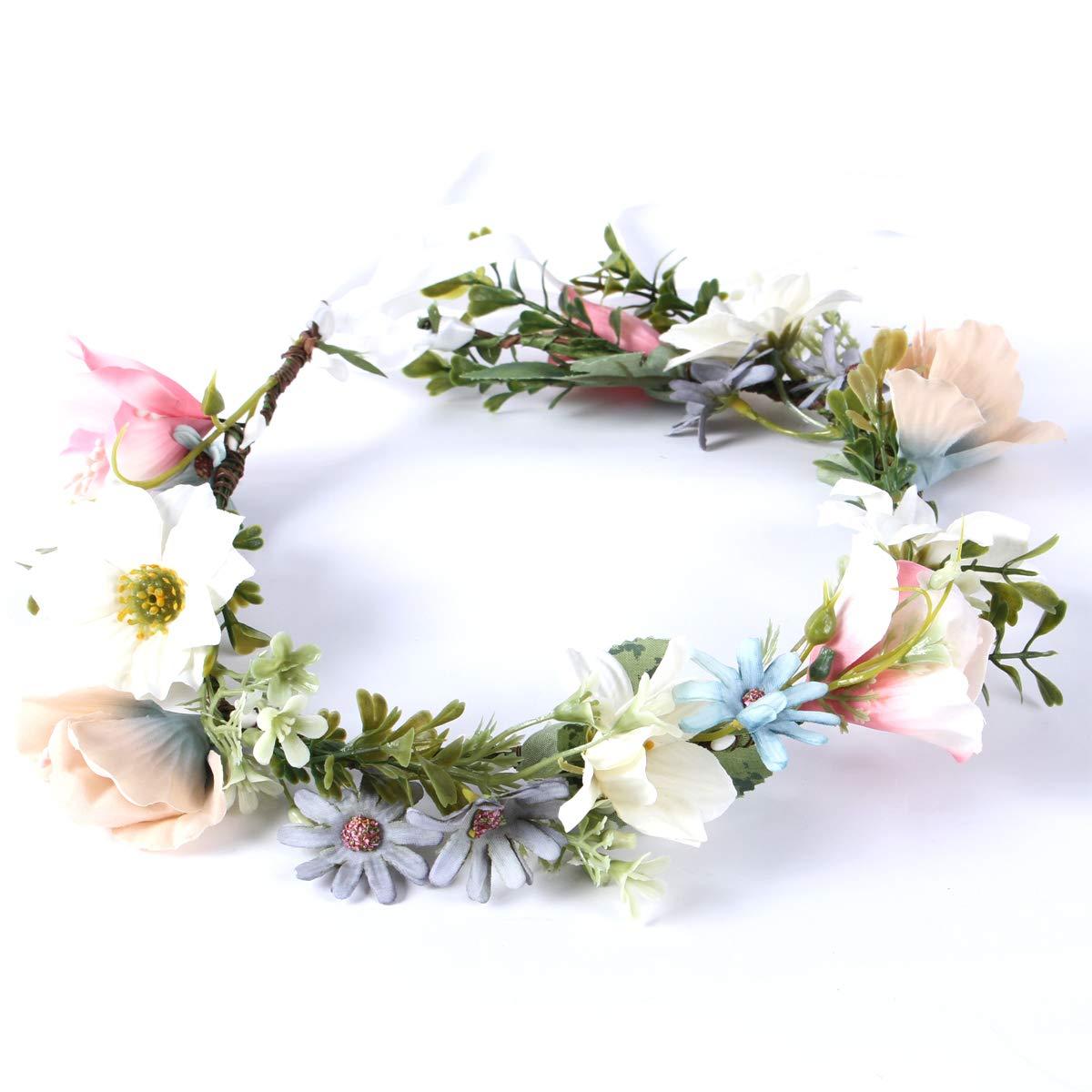Gmoka Flower Crown for Women, Wedding Festival Galentine Flower Adjustable Headbands Headpiece Best Love Gift for Girls, Children Sen Female White Imitation Wreath Great with Dress