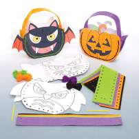 Baker Ross Halloween Color and Sew Treat Gift Bag Decoration Kit | Perfect for Parties | Kids Trick-or-Treat Fun Arts and Crafts Project | Pack of 4 Spooky Bag Possibilities
