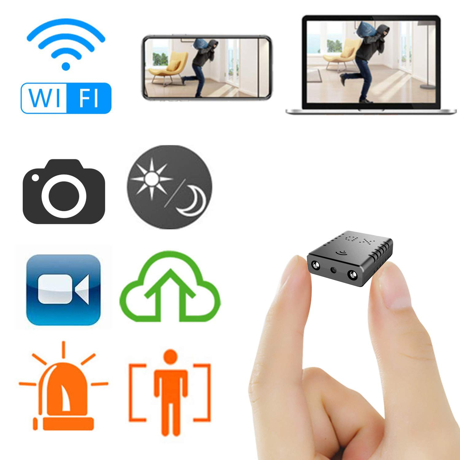 Mini Spy Camera WiFi, Rettru HD Small Camera with Remote Viewing Wireless Hidden Live Streaming, Upgraded Night Vision/Motion Activated Spy Cam Nanny Cam, Phone App with Andriod and iOS