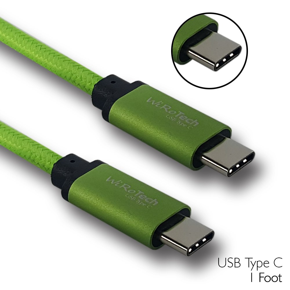 USB C Cable, WiRoTech Lime Green USB-C to USB-C Fast Charging Cable (1 Foot, Lime Green)