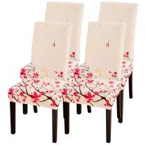SearchI Dining Room Chair Covers Slipcovers Set of 4, Spandex Super Fit Stretch Removable Washable Kitchen Parsons Chair Covers Protector for Dining Room,Hotel,Ceremony,Pink Flowers