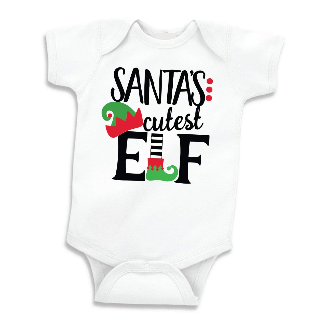 Bump and Beyond Designs Infant and Baby Santa's Cutest Elf Christmas Bodysuit Boy and Girl Outfit