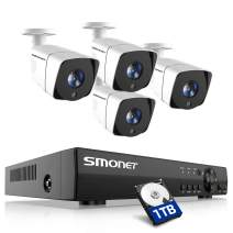 SMONET Home Security Camera Systems,8 Channel 5-in-1 5MP Video Security System(1TB Hard Drive),4pcs Outdoor Indoor Wired Security Cameras FHD, P2P Surveillance Systems,CCTV DVR Kits with Night Vision