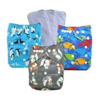 Ohbabyka Baby Adjustable Reusable Pocket Cloth Diapers Washable One Size, 3pcs Inserts
