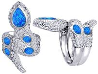 Star K Good Luck Snake Ring with Simulated Blue Opal Stones Sterling Silver