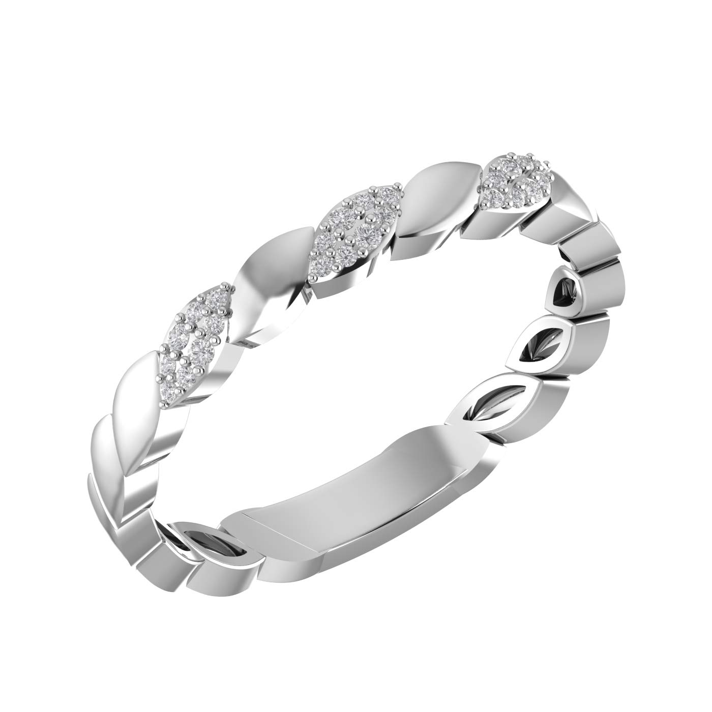 Amayra 0.08 CTW Diamond Ring - 24 Natural Round Stones in 925 Sterling Silver- Brilliant Cut US Size 4 (Color-GH Clarity-VS-SI)-Perfect for Bridal Promise Ring, Wedding Anniversary or Beautiful Gift