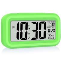 WulaWindy Led Display Digital Alarm Clock Battery Operated Smart Night Light Easy Operation Clock for Kids Heavy Sleepers Bedroom Clock Green