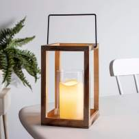 """Lights4fun, Inc. 9.5"""" Wooden Battery Operated Indoor LED Flameless Candle Lantern with Glass Candle Holder"""