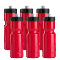 Sports Squeeze Water Bottles - Set of 6 - Team Pack – 22 oz. BPA Free Bottle Easy Open Push/Pull Cap – Made in USA - Multiple Colors Available (Red)