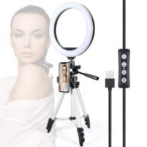 "10"" Selfie Ring Light with Tripod Stand & Cell Phone Holder for Live Stream Makeup - GLCON Dimmable LED Camera Ringlight for YouTube Video Tiktok Photography - Ring Light for iPhone Android (Silver)"