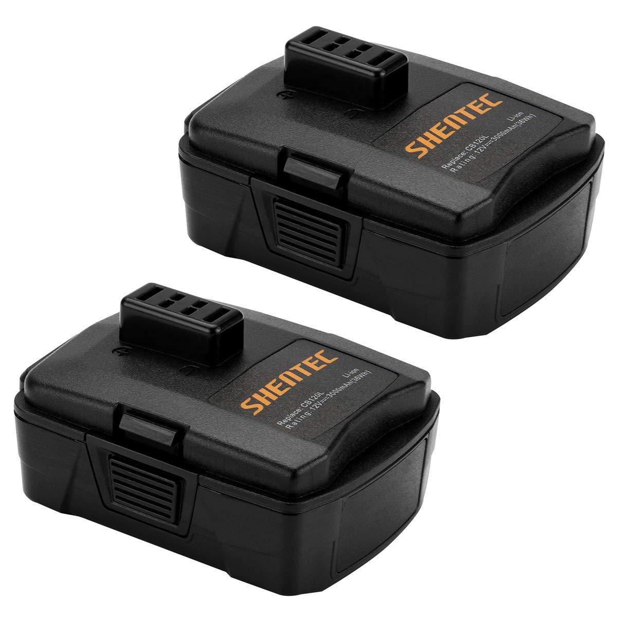 Shentec 2 Pack 3.0Ah 12V Battery Compatible with RYOBI CB120L CB121L BPL-1220 130503001 130503005, 12V Lithium Battery (NOT for CB120N)