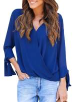 Sidefeel Women Casual Loose Fit Wrap V Neck Chiffon Blouse Shirt