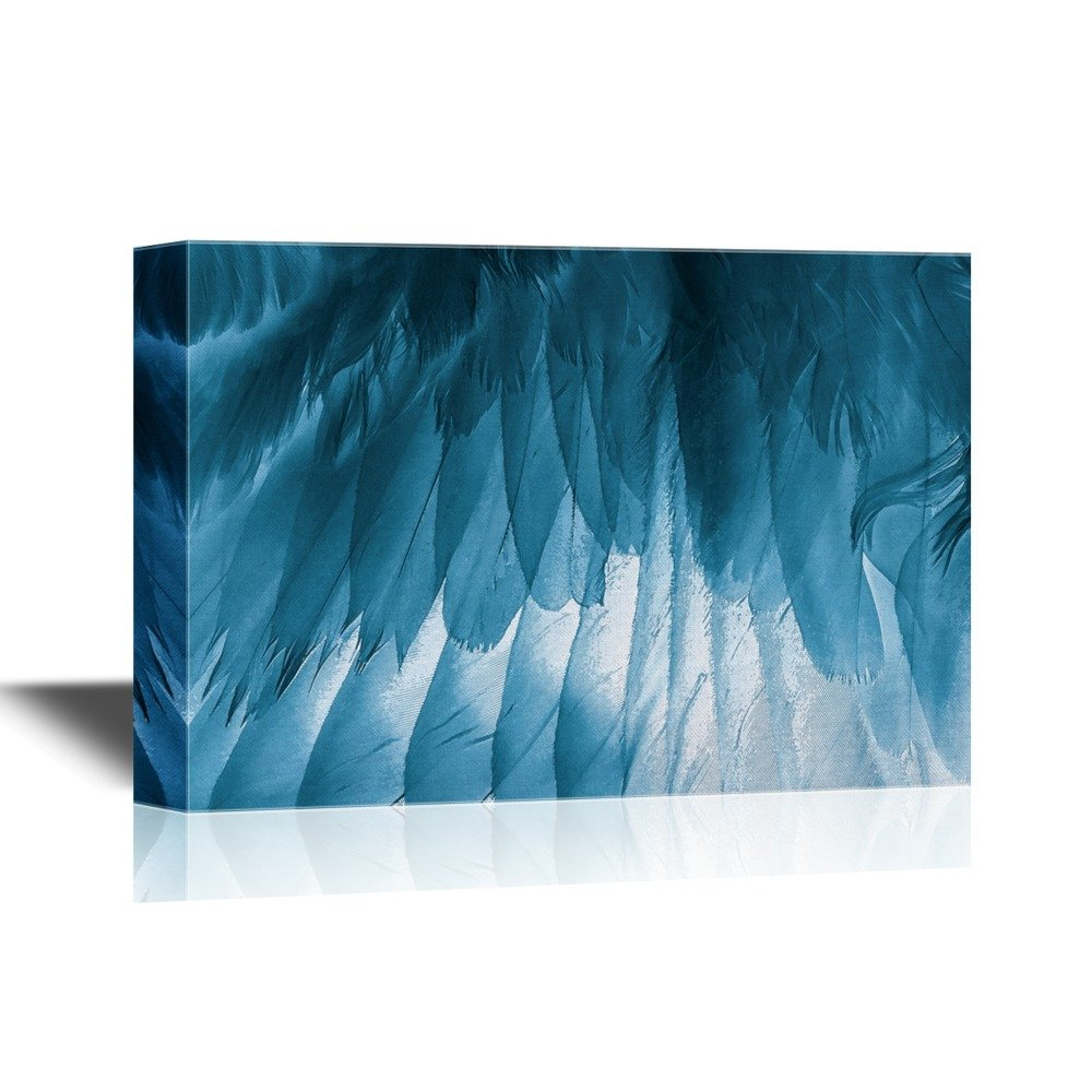 wall26 - Canvas Wall Art - Blue Feather - Gallery Wrap Modern Home Decor | Ready to Hang - 12x18 inches