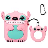 Mulafnxal Compatible with Airpods 1&2 Case,Cute Cartoon Character Silicone Airpod Funny Cover,Kawaii Fun Cool Keychain Design Skin,Fashion Cases for Girls Kids Teens Boys Air pods(3D Pink Stitch)