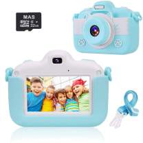 VICOODA Kids Camera, 3 Inch HD Touch Screen Digital Camera, Child Video Camcorder for 3-12 Year Old Boys Girls Toy Gifts, 1080P IPS Shockproof Rechargeable Selfie Camera with 32GB SD Card, Blue