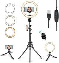 """10.2"""" LED Selfie Ring Light with Tripod Stand & Phone Holder for Live Streaming & YouTube Video, Dimmable Makeup Ring Light for Photography, Shooting with 10 Brightness Level & 3 Light Modes"""
