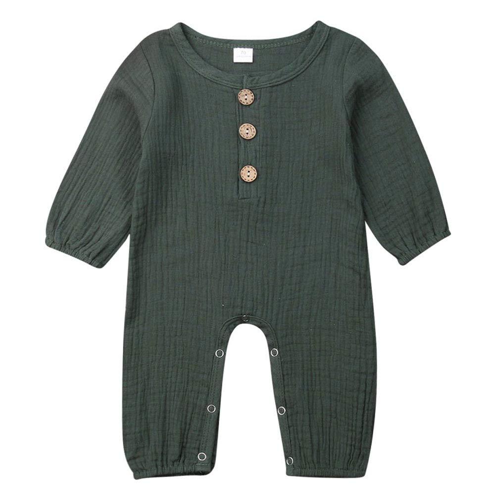 Newborn Baby Girl Boy Jumpsuit Romper Cotton Button Down Long Sleeve One Piece Bodysuit Onesie Newborn Boy Clothes
