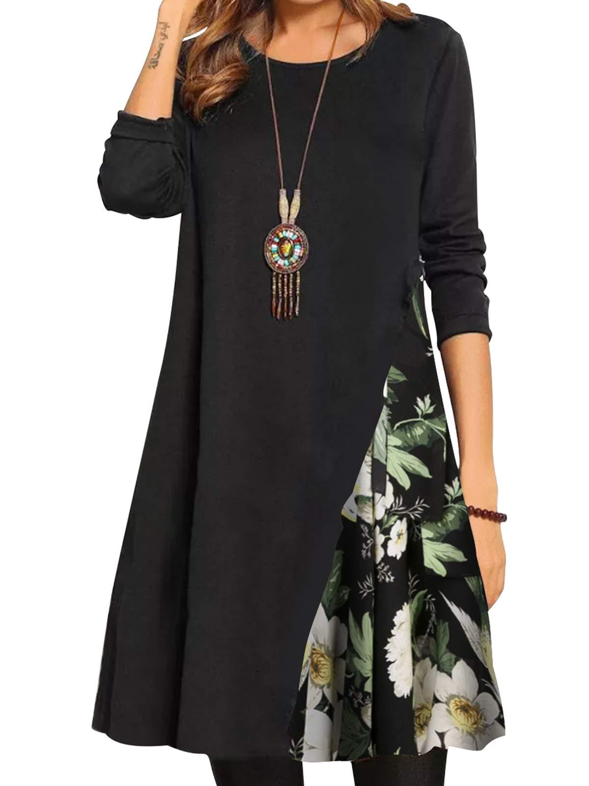 Bonny Billy Women's Patchwork Plain Dress Casual Shift Black Dresses Small