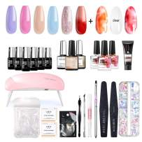 Modelones Gel Nail Starter Kit, Gift Box with 6 Color Gel Tiny Bottles 7ml, 3 Blooming Polish 10ml, Poly Nail Gel, Base and Top Coat Set 10ml Each, Mixture 10ml, 6W Mini Nail Lamp and Manicure Set