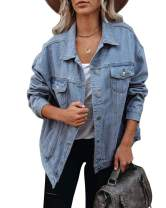 BZB Women's Boyfriend Denim Jacket Washed Blue Long Sleeve Jean Jacket Coats