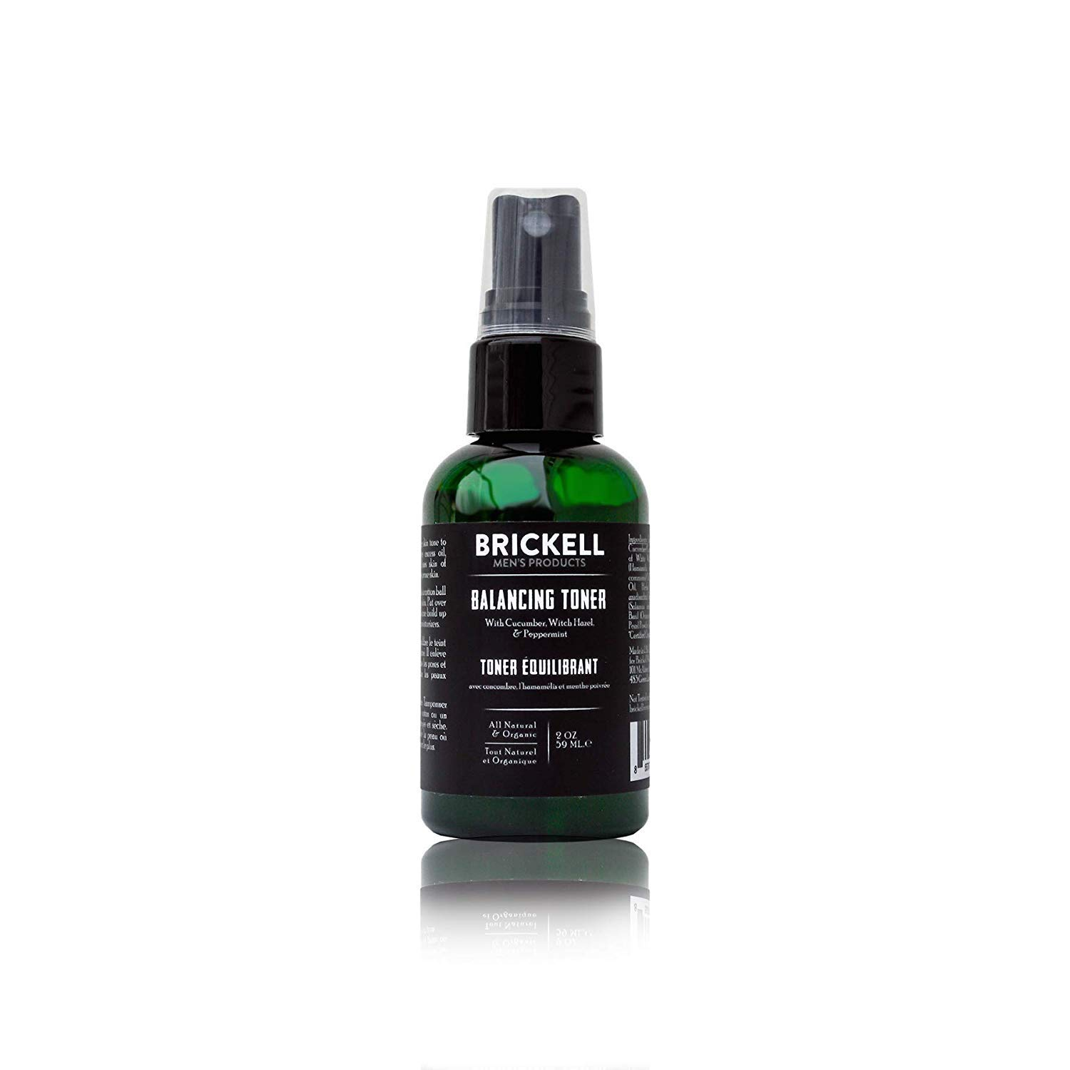 Brickell Men's Balancing Toner For Men, Natural and Organic Alcohol-Free Cucumber, Mint Facial Toner with Witch Hazel, 2 Ounce, Scented