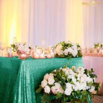 Green Table Cloths for Parties 72x72-Inch Great Gatsby Decorations Sequin Tablecloth (Christmas Green)