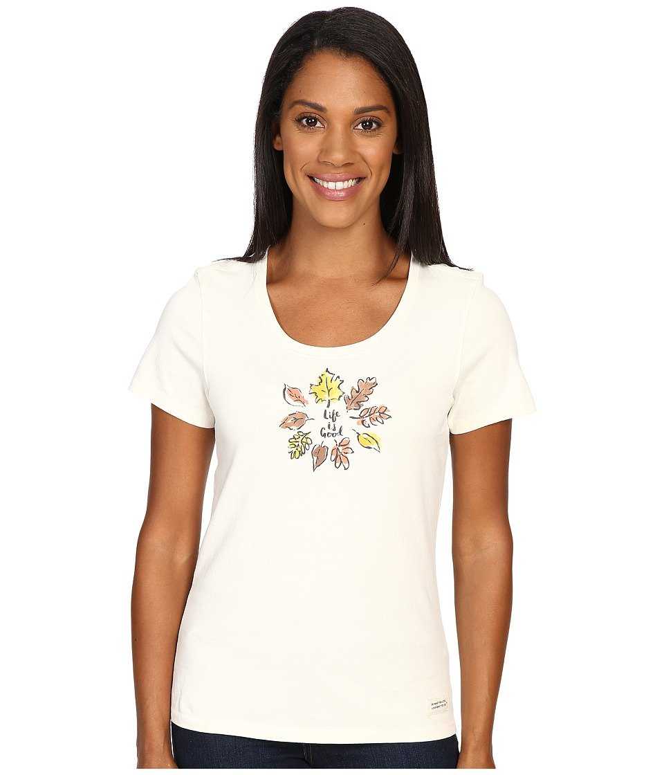 Life is good Women's Crusher Scoop Leaf Circle Paint T-Shirt, Simply Ivory