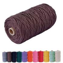 Bytron Macrame Cord 3mm Cotton Cord DIY Natural Yarn Cotton Macrame Rope Cotton Yarn Twine String Cord for DIY Wall Plant Hanger Craft and Making Dream Catcher 328feet (Brown)