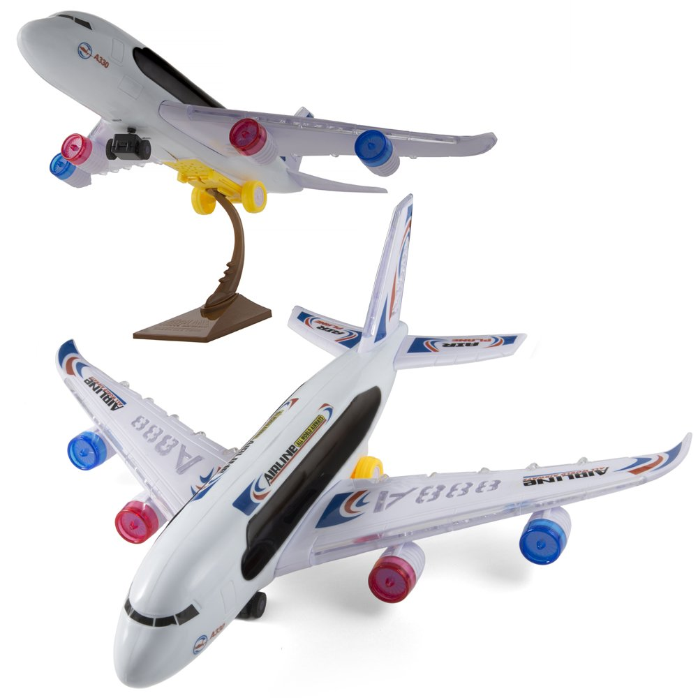 KIDSTHRILL A388 Airplane Toys Bump and Go Action Plane   Flashing Lights and Jet Sounds   Airbus Toys for Kids with A Stand   Great Gift for Boys, Girls Or Toddler
