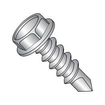 """18-8 Stainless Steel Self-Drilling Screw, Plain Finish, Hex Washer Head, Hex Drive, #3 Drill Point, #12-14 Thread Size, 2"""" Length (Pack of 10)"""