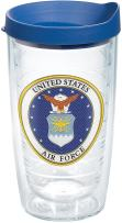 Tervis 1282777 Air Force Classic Seal Flex Tumbler with Emblem and Blue Lid 16oz, Clear