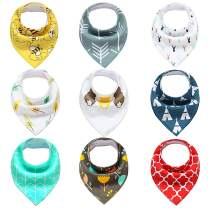Baby Bandana Drool Bibs for Drooling and Teething, 100% Organic Cotton and Fleece Unisex super absorbent Organic Cotton, Cute Baby Gift for Boys & Girls, Toddler Baby Shower gift (9 Pack)