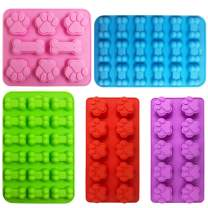 Puppy Dog Paw and Bone Silicone Molds, Sonku Silicone Trays Candy Molds for Chocolate, Candy, Jelly, Ice Cube, Dog Treats (5Pcs/set)