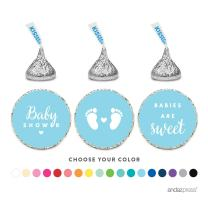 Andaz Press Chocolate Drop Labels Trio, Fits Hershey's Kisses, Baby Shower, Baby Blue, 216-Pack