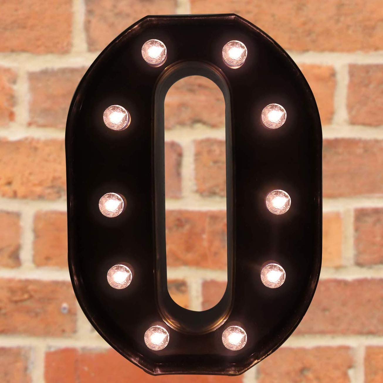 Pooqla Decorative LED Illuminated Letter Marquee Sign - Alphabet Marquee Letters with Lights for Wedding Birthday Party Christmas Night Light Lamp Home Bar Decoration O, Black