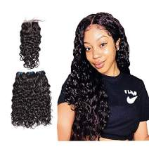 Brazilian Human Hair Water Wave 3 Bundles with Closure(18 18 18 with 16),Wet and Wavy, 9A Unprocessed Curly Human Hair Bundles With Middle Part Lace Closure