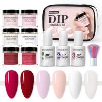 Dipping Powder Nail Kit, Anself 10PCS Nail Art Powder Set with 6 Color Dip Powder,1PCS Base & Top Coat, 1PCS Activator,1PCS Brush Saver,1PCS Brush Nail Infiltration Powder Suit Bottom Wetting Powder