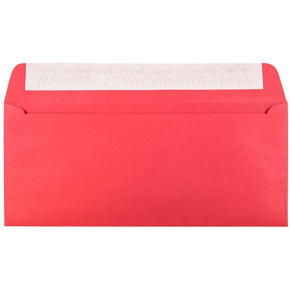 JAM PAPER #10 Business Colored Recycled Envelopes with Peel and Seal Closure - 4 1/8 x 9 1/2 - Red Recycled - Bulk 250/Box