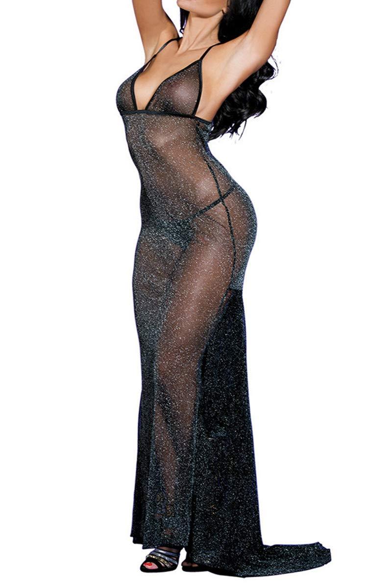 SUNSPICE Sexy Sheer Black Shining Mesh Long Nightgown Deep-V Gown Dress for Women