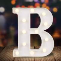 ODISTAR LED Light Up Marquee Letters, Battery Powered Sign Letter 26 Alphabet with Lights for Wedding Engagement Birthday Party Table Decoration bar Christmas Night Home,9'', White(B)