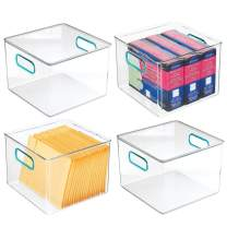 """mDesign Plastic Home, Office Storage Organizer Container with Handles for Cabinets, Drawers, Desks, Workspace - BPA Free - for Pens, Pencils, Highlighters, Notebooks - 8"""" Wide, 4 Pack - Clear/Blue"""
