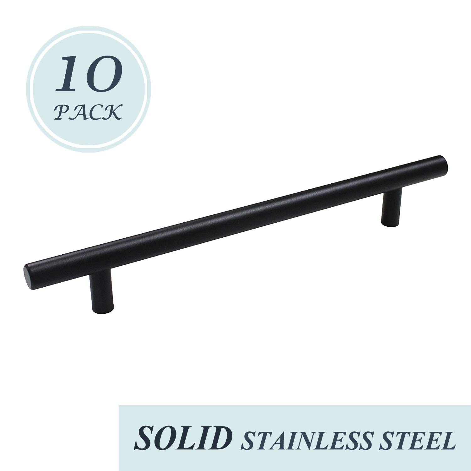 """Modern Cabinet Pulls and Handles 6-1/2"""" Hole Centers - Black Solid Stainless Steel Kitchen Cupboard Handles Dresser Drawer Handles 8-3/4"""" Length, 10 Pack"""