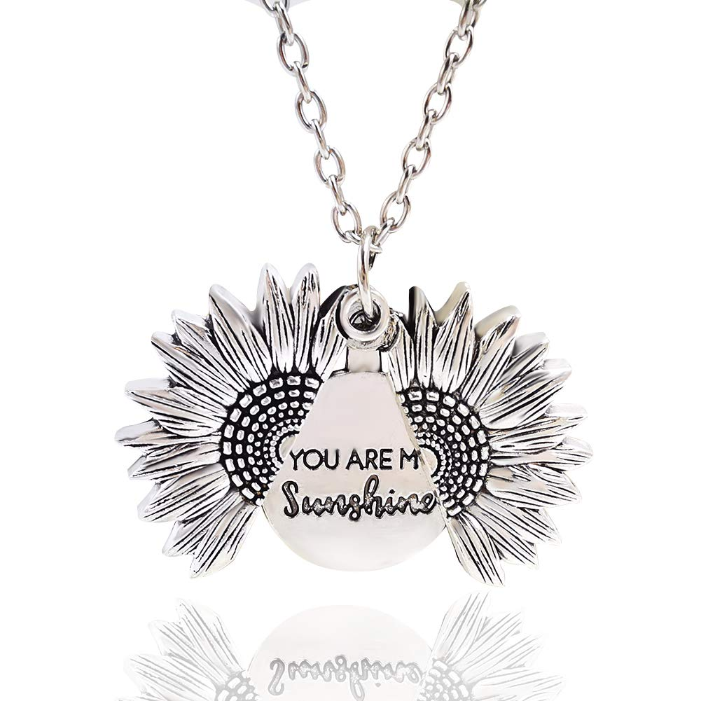 Sunflower Necklace Locket You are My Sunshine Engraved Pendant Necklace for Women Girls Men with Nice Gift Box