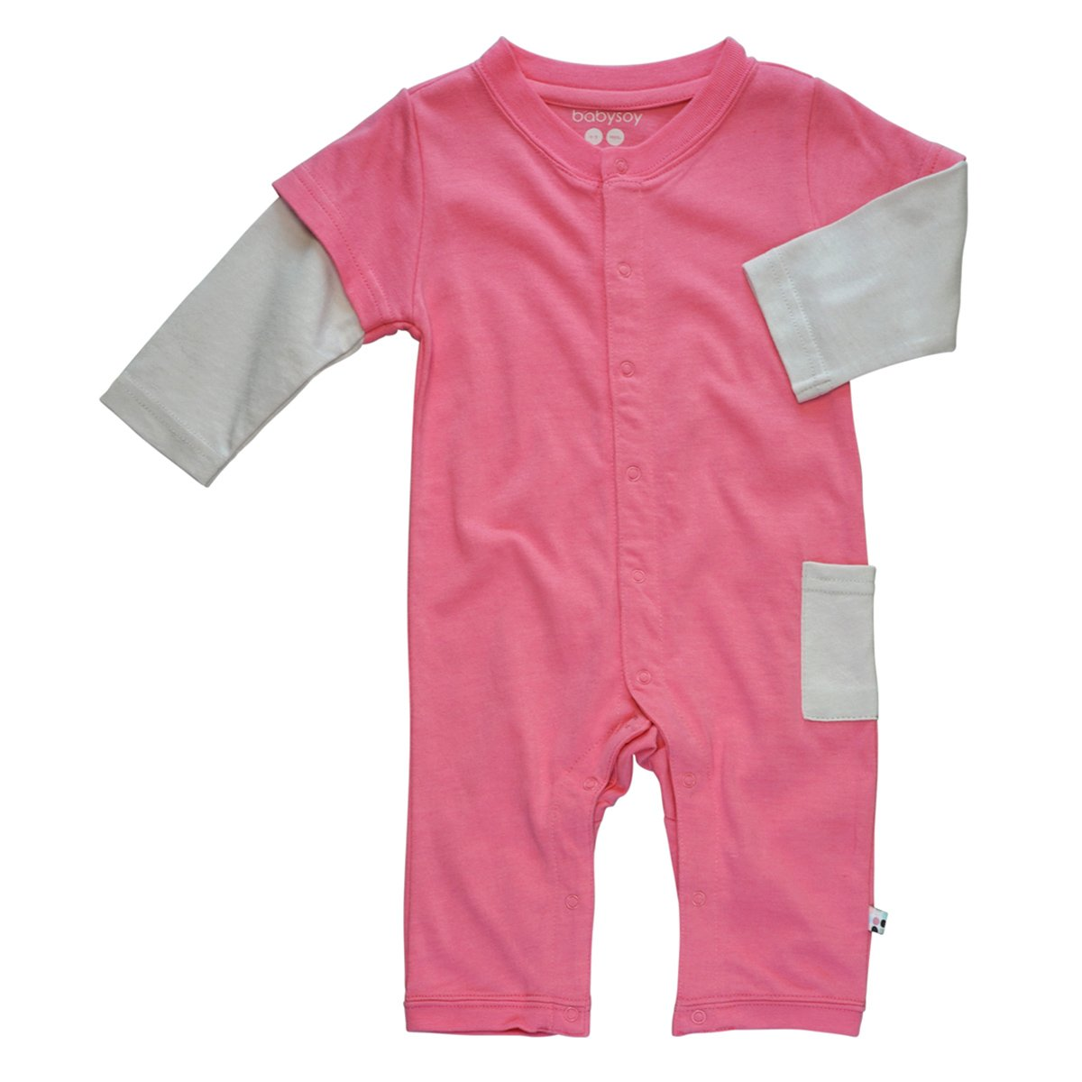 Babysoy Baby Girls' Layered One Piece, Pink Lemonade, 3-6 Months