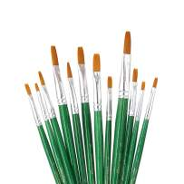 SEEFOUN 12 pcs Handmade Flat Tipped Brushes Professional Oil Paint Brush Set, Anti-Shedding Nylon Hair for Acrylic, Oil, Watercolor and Gouache, Nice Gift for Artists, Adults & Kids